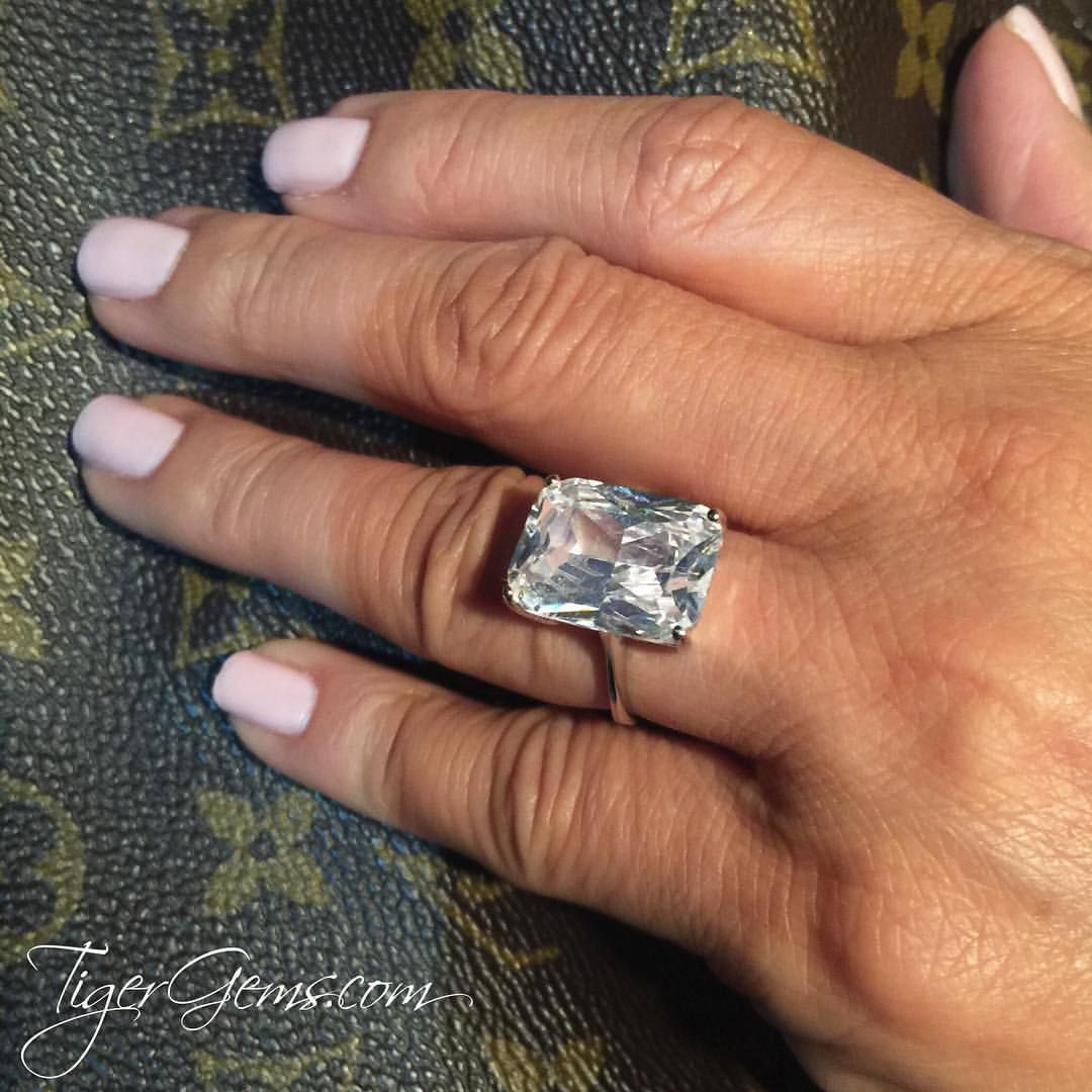 A stunning  celebrity inspired engagement ring - 14 ct radiant cut solitaire ring. ❤️ Shop Now at TigerGems.com | Free US Shipping & Free Returns |  100% Happiness Guarantee