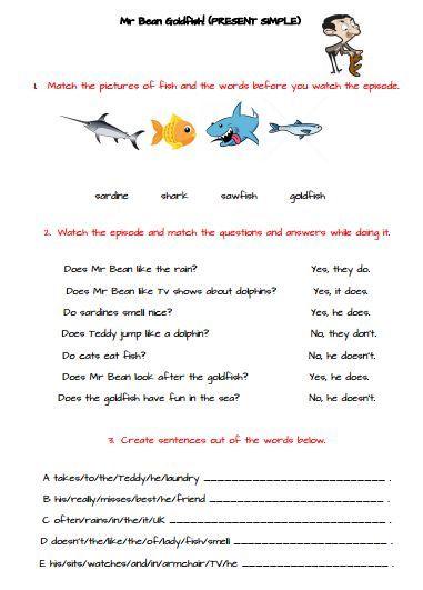 Present Simple Video Worksheet Worksheet Pinterest Worksheets
