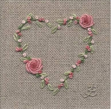 Heart Embroidery By Jo Butcher Bullion Stitches On Roses