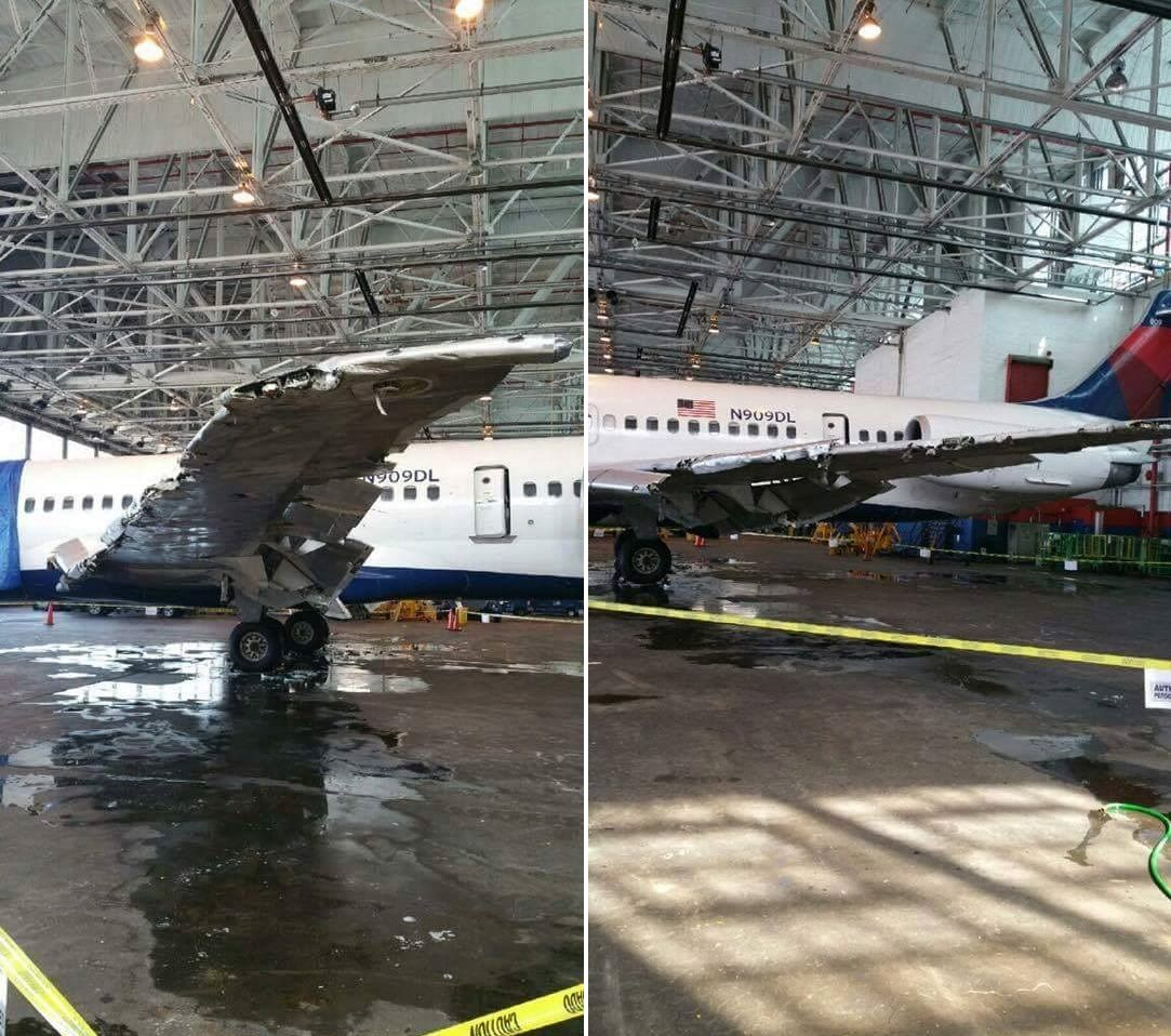 Delta MD80 N909DL sits in a hanger at LaGuardia following