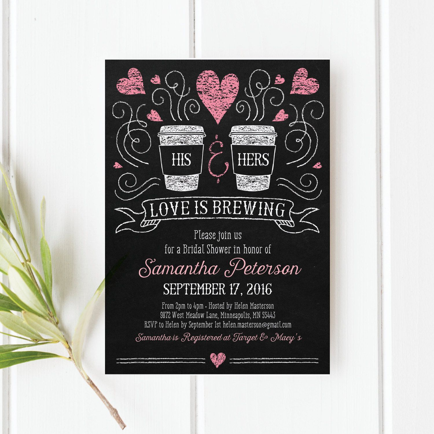 Love is Brewing Bridal Shower Invitation, Printable PDF Template ...