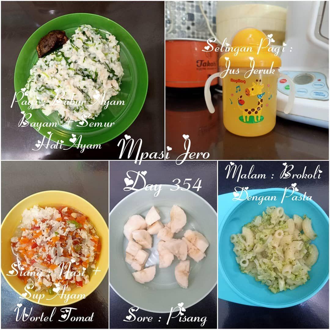 Mpasi Jeroarsalantarendraprasetya Day 354 Pagi Bubur Ayam Bayam Semur Hati Ayam Selingan Pagi Jus Jeru Baby Food Recipes Homemade Baby Food Baby Puree