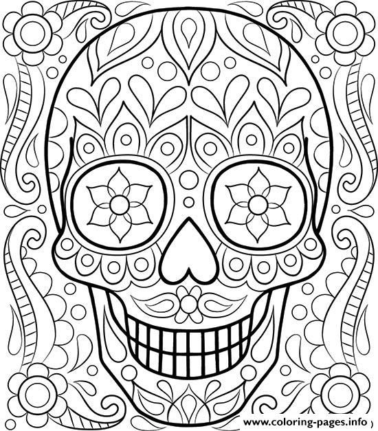 print sugar skull day of the dead coloring pages