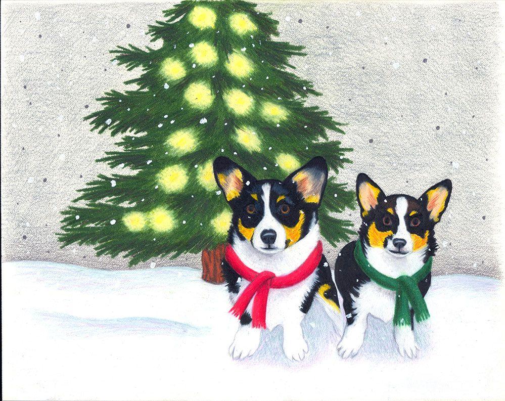 Corgi Christmas Card - Colored Pencil, Art, Artist, Christmas, Snow ...