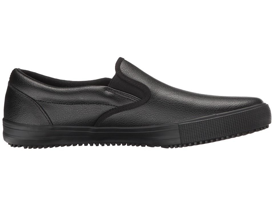SKECHERS Work Alcade Men's Slip on Shoes Black Leather/PU #ShoesForMen