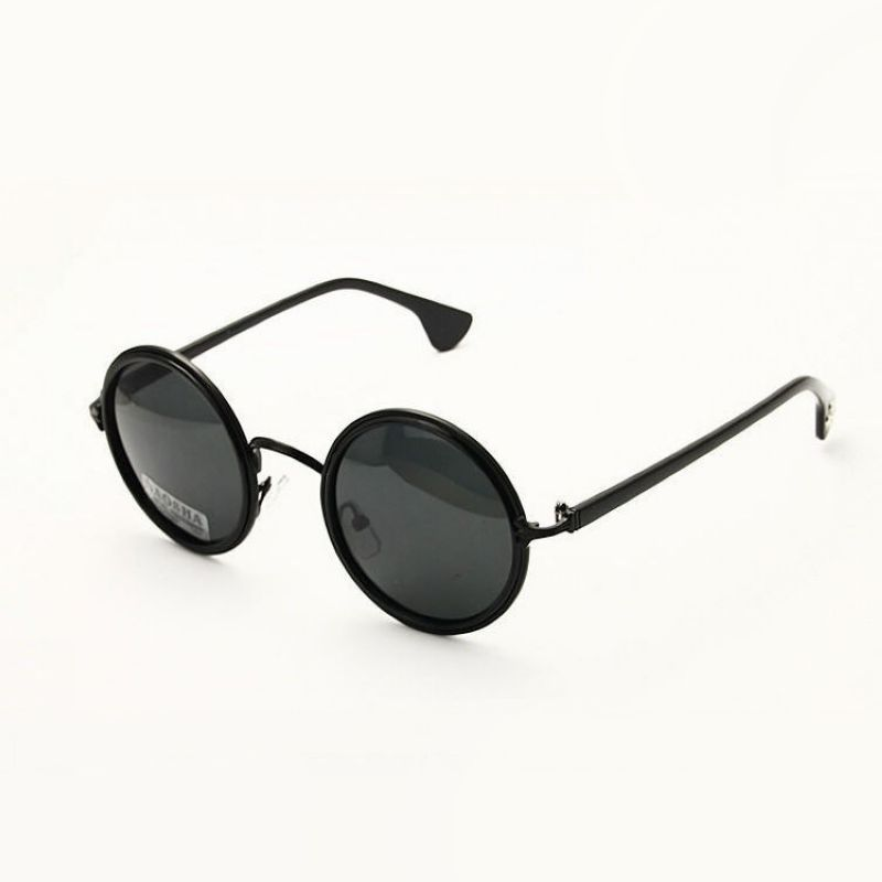c9e85319ec Retro Round Polarized Sunglasses For Men   Women Black Metal Circle Frame  Gray Lens Circular Hipster Glasses