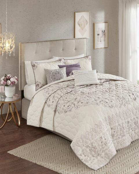 Madison Park Apartments California: 6 Piece Evelyn Cotton Printed Reversible Coverlet Set In