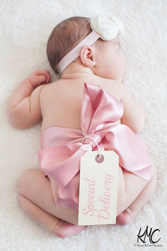 Ribbon special delivery tag photography newborn baby photo prop pink or blue