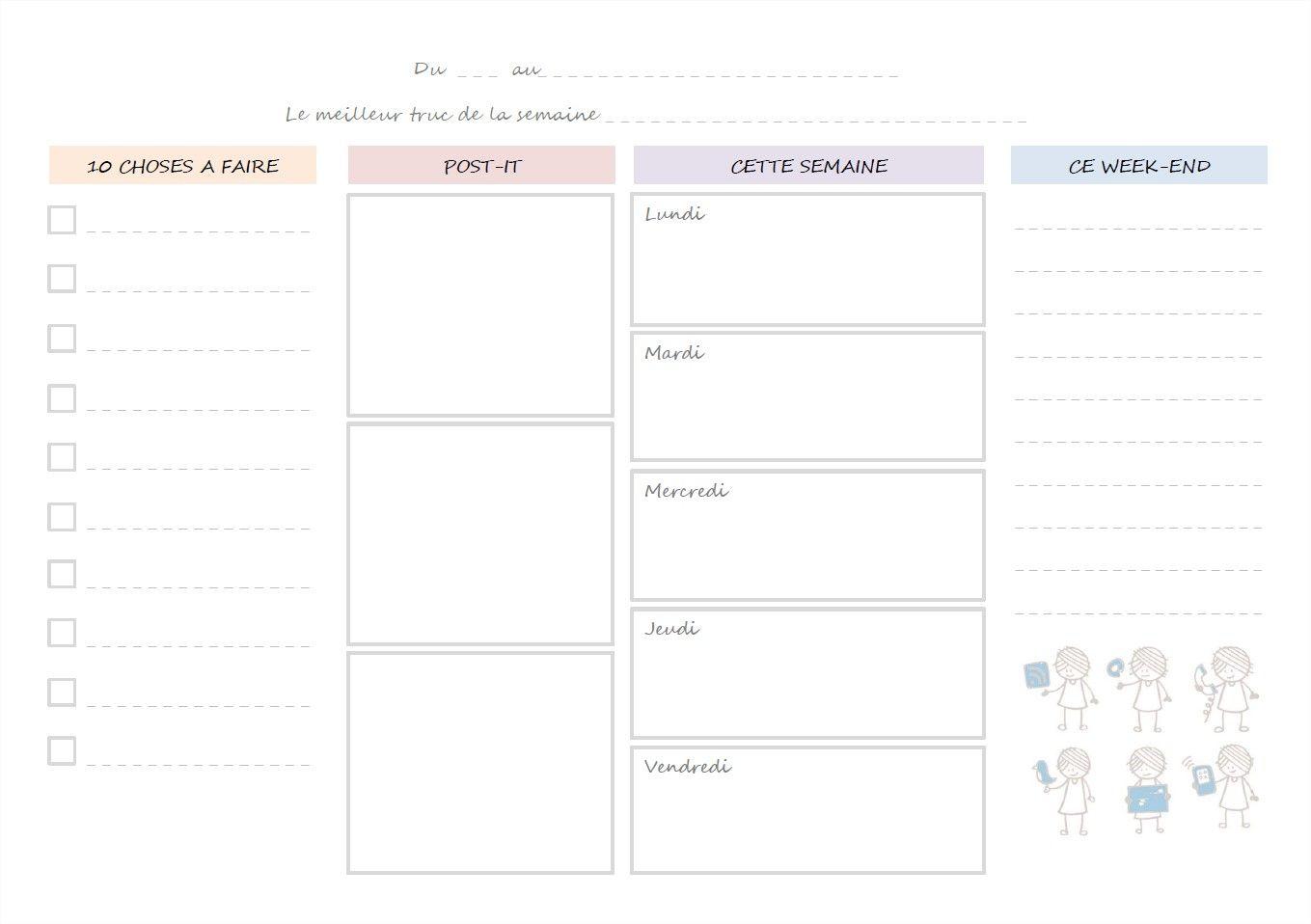 week planning agenda de la semaine calendrier agenda pinterest planning agenda et. Black Bedroom Furniture Sets. Home Design Ideas