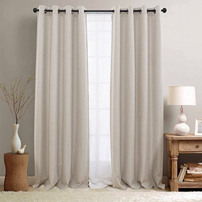 Faux Linen Room Darkening Curtains For Bedroom Light Reducing