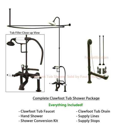Oil Rubbed Bronze Clawfoot Tub Faucet Shower Kit with Enclosure ...