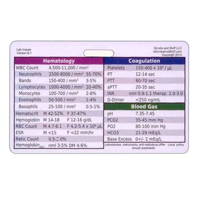 Common lab values - reference badge ID card