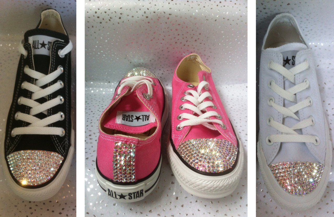 Converse All Star Sparkling Crystal Custom Trainers Made With ... 3ab373838