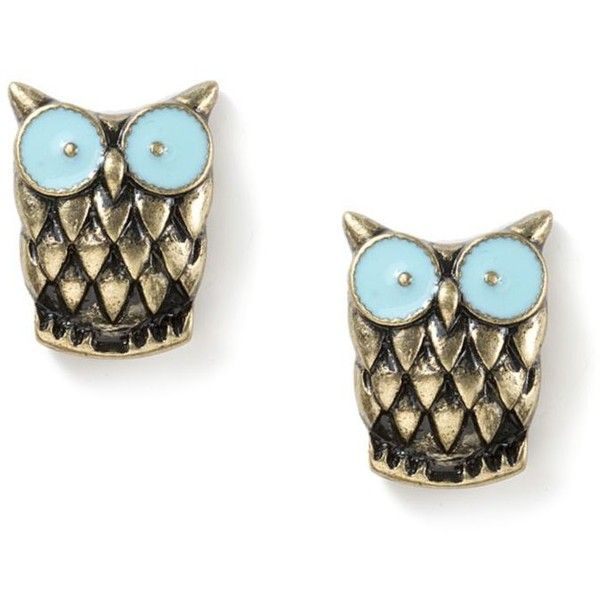 Antique Gold Owl Stud Earrings | Icing ($7.50) ❤ liked on Polyvore featuring jewelry, earrings, antique gold jewelry, pineapple jewelry, pineapple stud earrings, owl jewellery and antique gold earrings