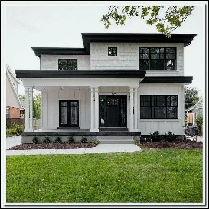 20 Modern Farmhouse Exterior Design Ideas For Stylish But Simple Look 12 House Designs Exterior Flat Roof House House Exterior