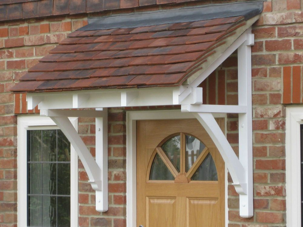Front door canopy traditional timber single sloping roof for Front door roof designs