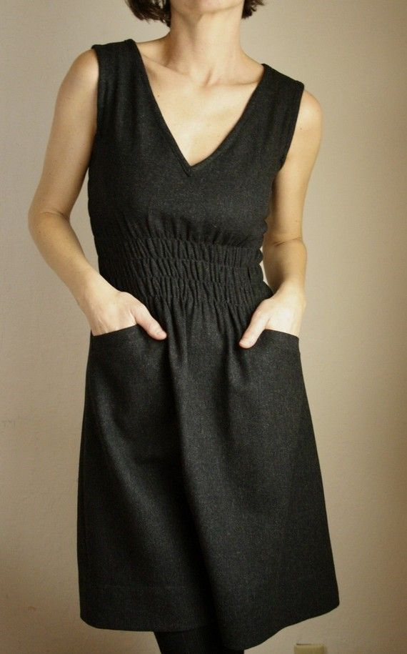 fiji dress S charcoal wool by modaspia on Etsy 1 of 2