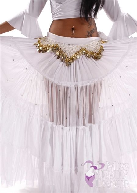 8f891c8d5442 Belly Dance White 25 Yard Tribal Skirt   Madri Blanca   Dream ...