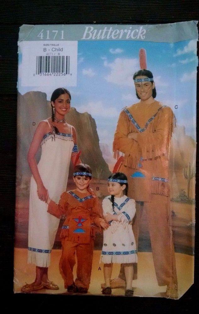 Vtg Butterick 4171 Child Costume Native American Pocahontas Indian B ...