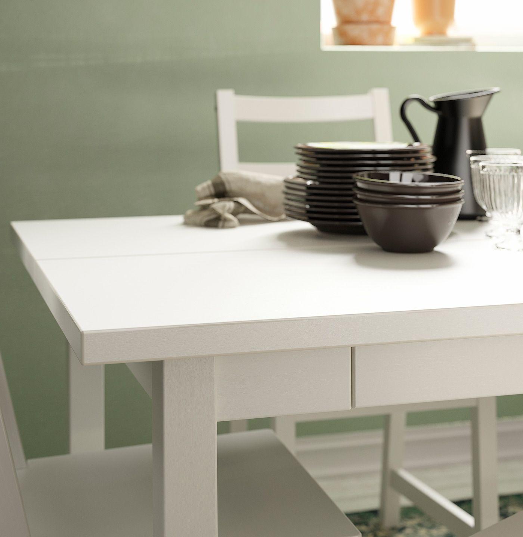 Nordviken Extendable Table White 59 7 8 87 3 4x37 3 8 In 2020 Table Ikea Dining Table