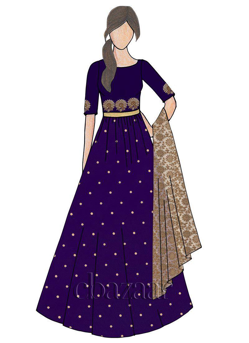 Buy Blueprint Taffeta Abaya Style Anarkali Online Sku Code Slbs1805016 This White Dress Design Sketches Fashion Illustration Dresses Fashion Drawing Dresses