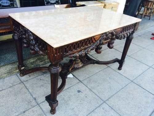 Antigua mesa de comedor sala tallada con marmol sano divina ...