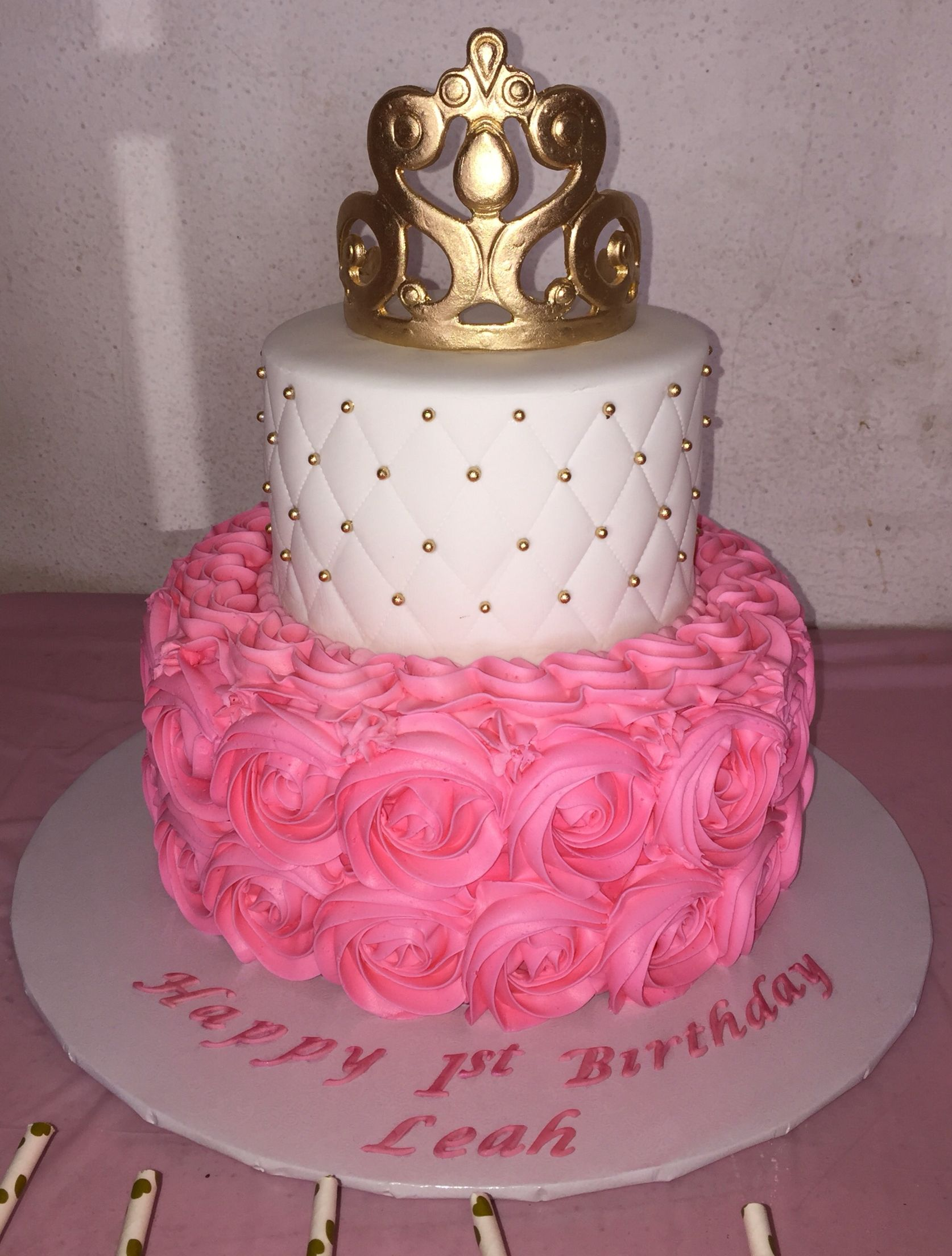 Made This Princess Rosette Cake With Sugar Paste Crown And