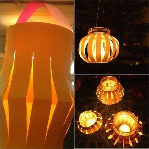 Laterne Basteln Glas Papier Teelicht Windlicht Martinstag Umzug