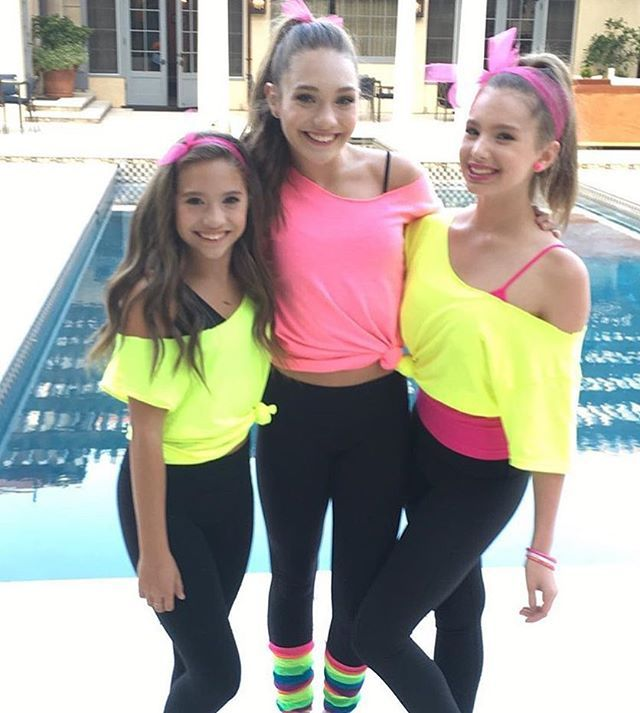 Another picture of Maddie & Mackenzie with Lilia in their outfits for JoJos 80s themed 13t birthday party • #dancemoms1 #dancemoms #spoilers #dmos_ziegler #dmosjojo13
