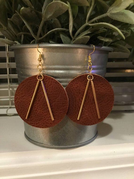 Large Leather Round Drop earrings with thin gold bars, Handmade, Gold bars