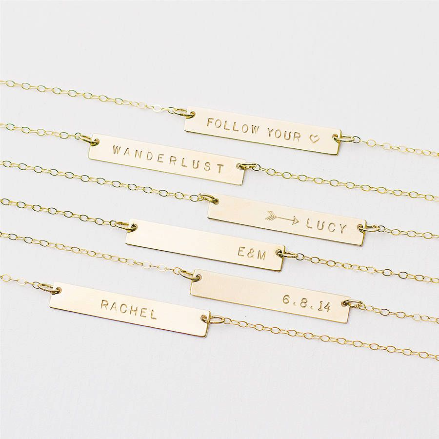 857a86181 Personalised Bar Necklace | Stuff I neeed!! | Bar necklace, Gold bar ...