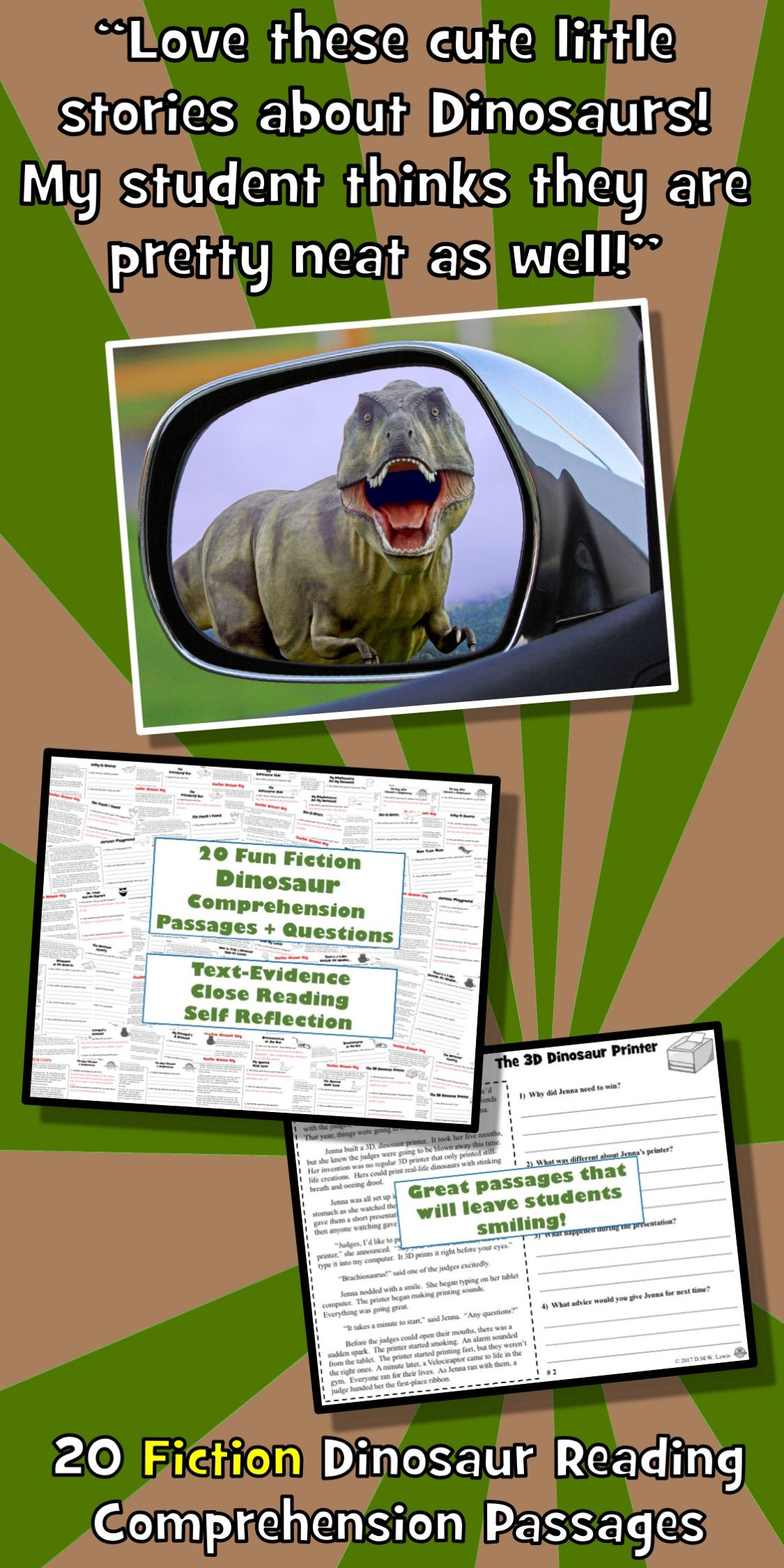 Dinosaur Reading Comprehension With Images