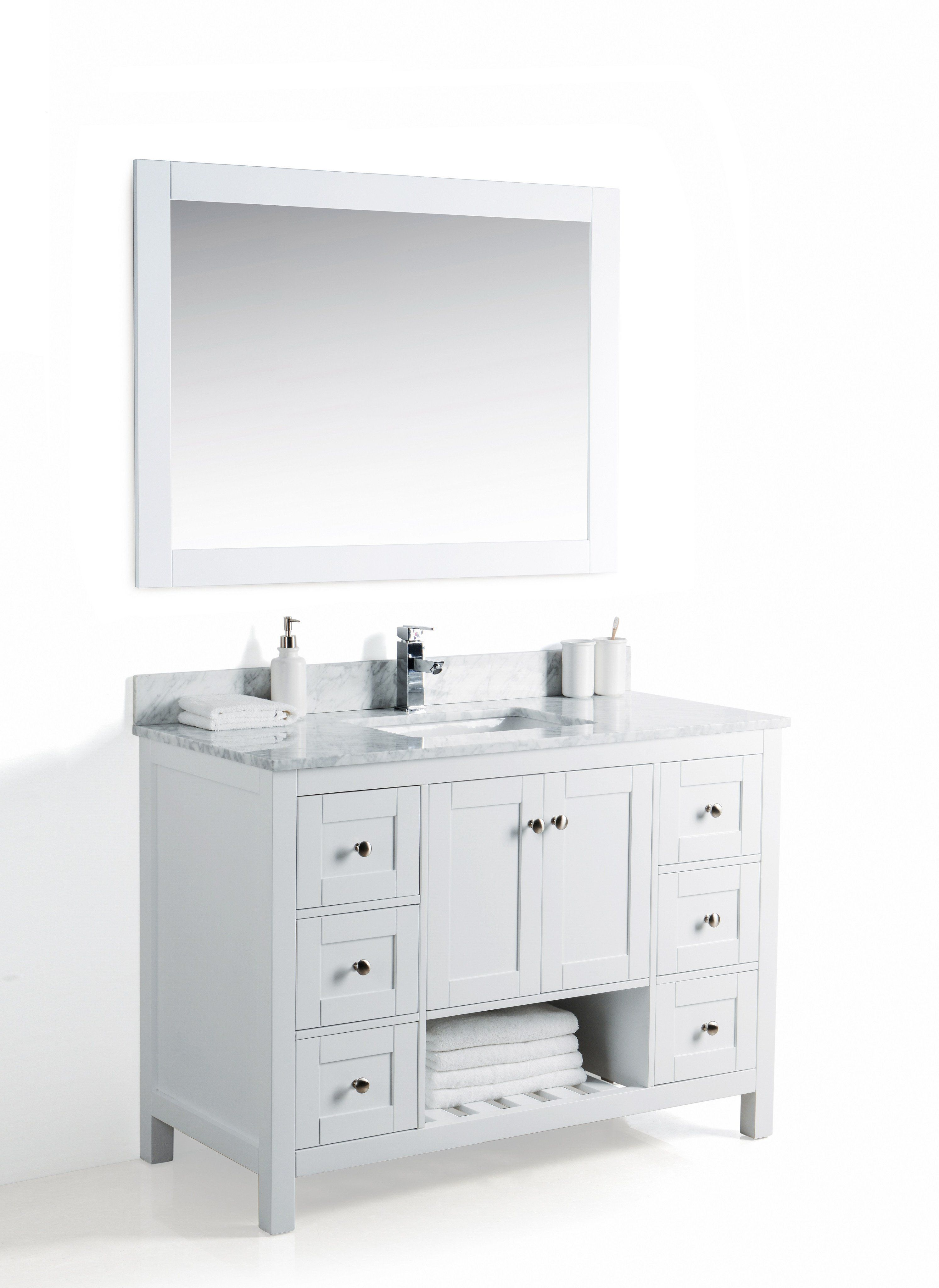 48 Inch Bathroom Vanity In White Six Roomy Drawers Ample Under