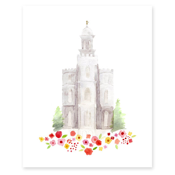 Logan Utah Lds Temple Watercolor Print By Hollybrookejones