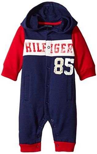 Tommy Hilfiger Baby Boys Newborn Coverall with Hoody Navy