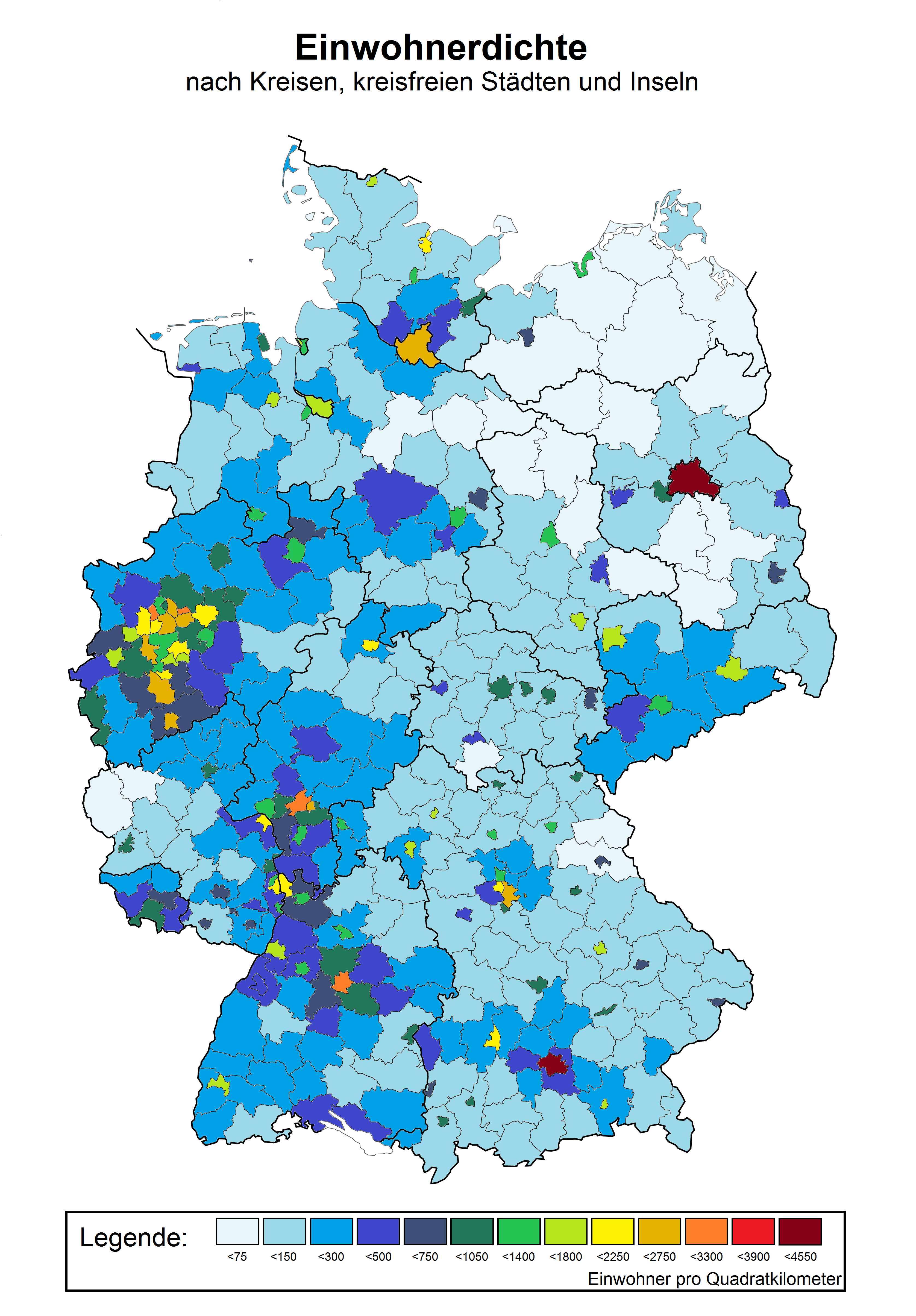 Map showing the population density of Germany