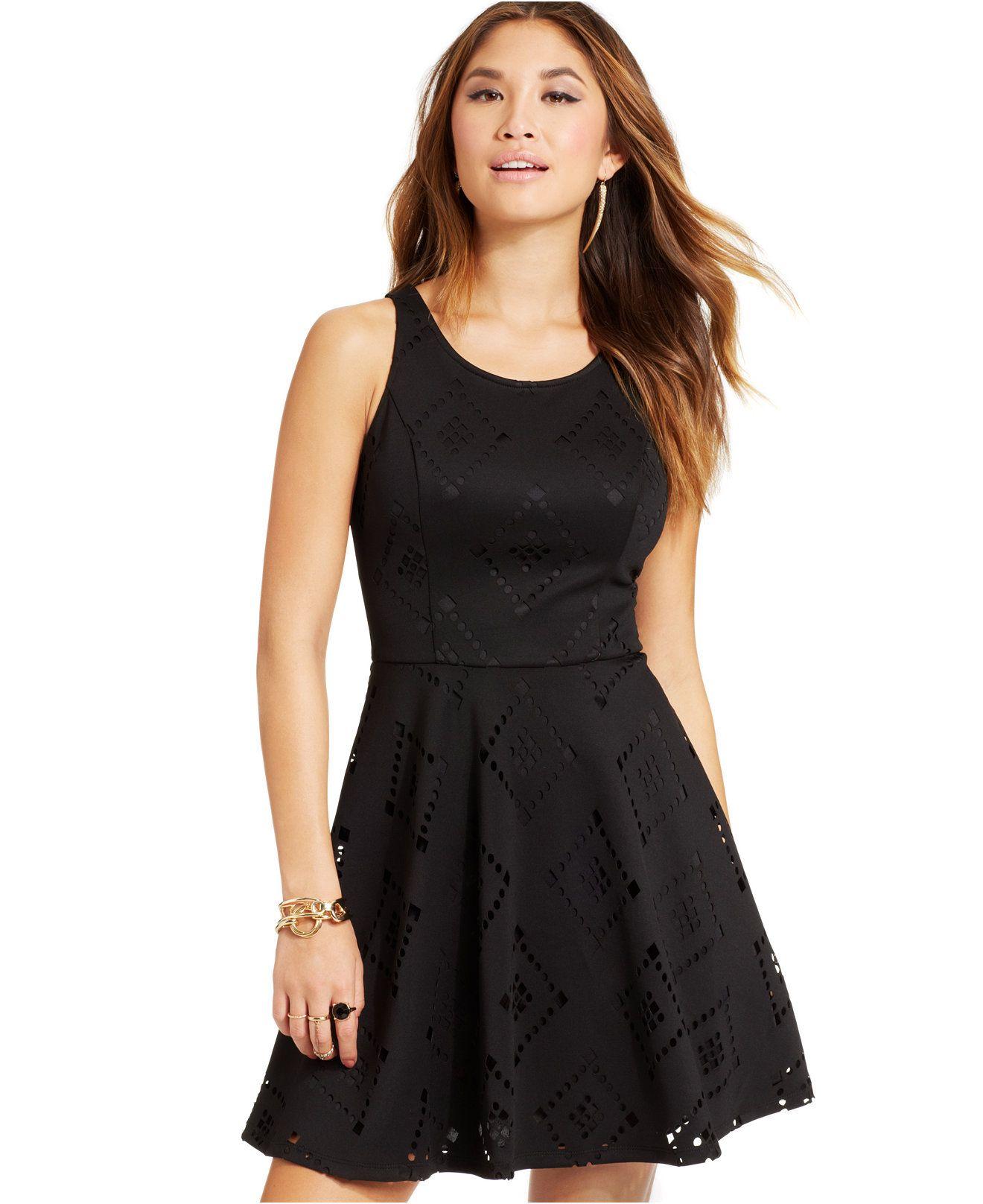 Material Girl Juniors Cutout Skater Dress Juniors Dresses