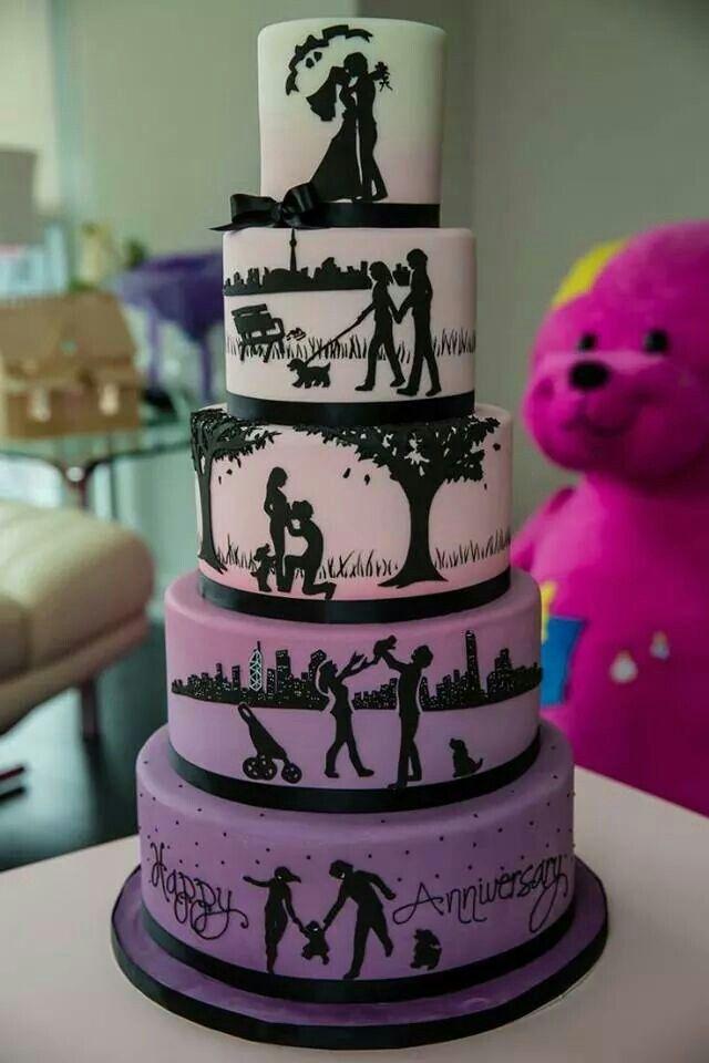 Ombre Anniversary Cake