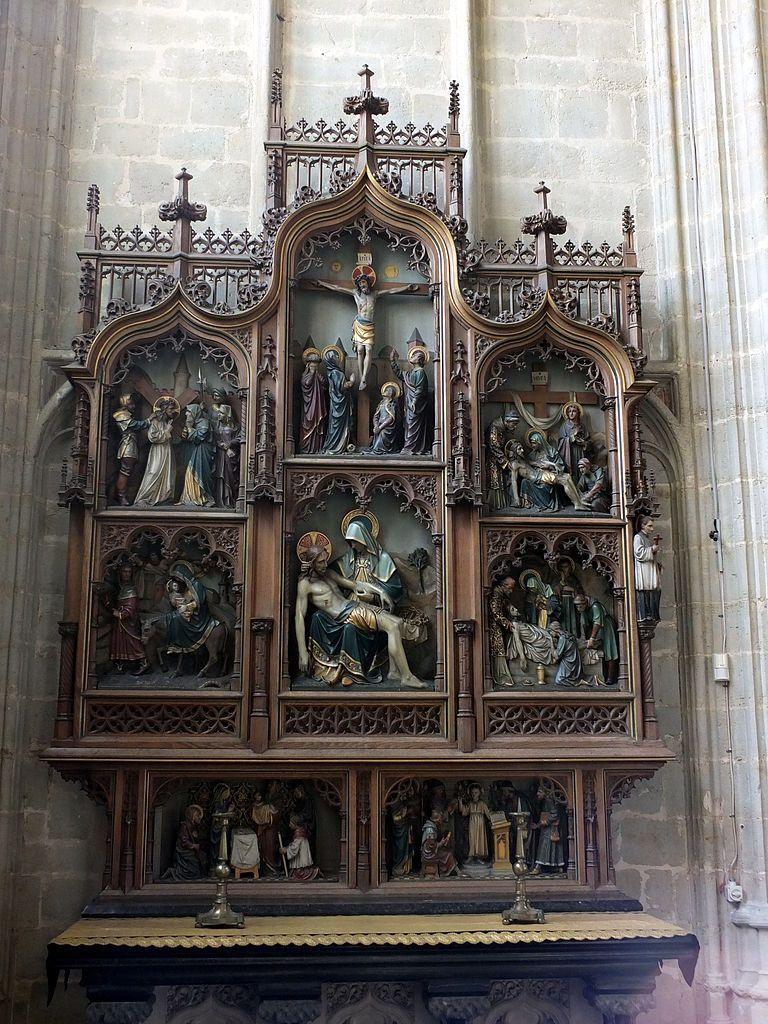 """rectumetjustum: """" Neogothic retable by Benoit van Uytvanck (1857-1927) , The Seven Sorrows of Our Lady (1909), in Onze-Lieve-Vrouw-over-de-Dijlekerk (Church of Our Lady across the river Dijle) in Mechelen, Flanders, Belgium. """""""