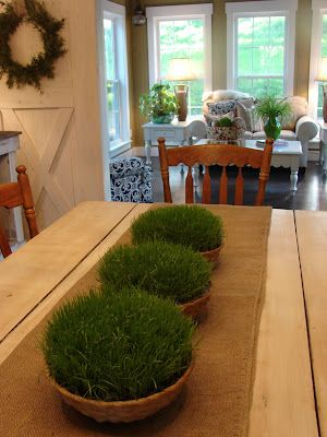 Grass planters for the table... cool idea  thank you Cobblestone Farms for sharing how.