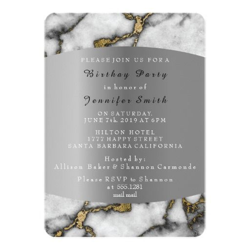 Marble Black Gold Silver Gray Event Birthday Party 13 Cm X 18 Cm Invitation Card