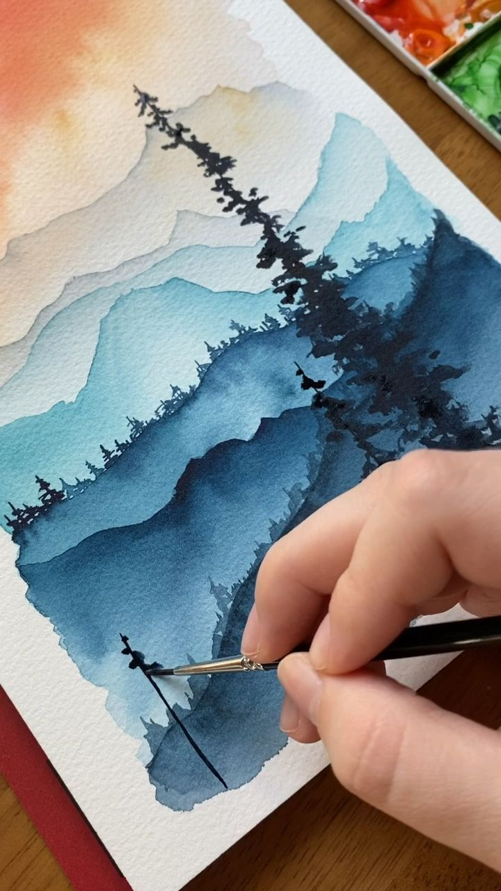 Watercolor wilderness scenes