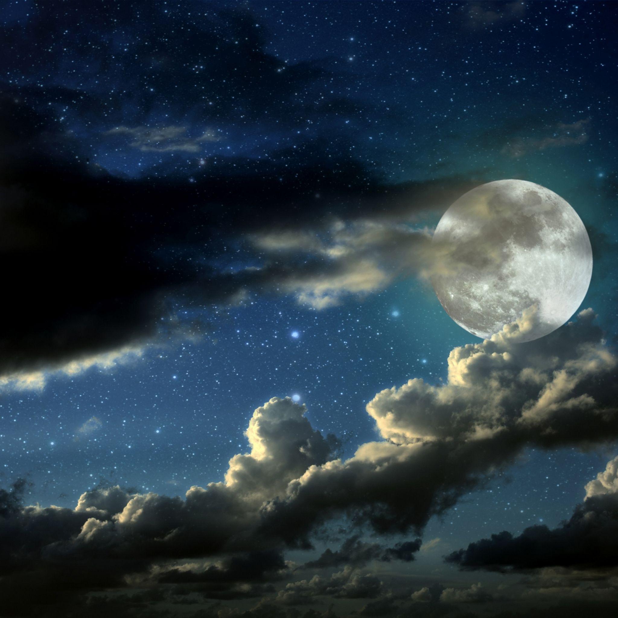 2048x2048 Wallpaper Lua Cheia Estrelas Nuvens Sombras