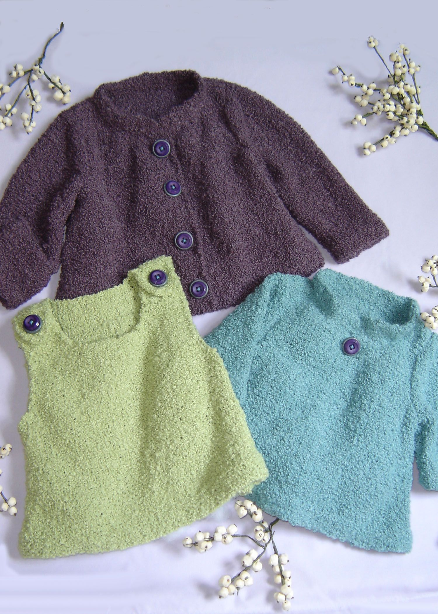 Three garment styles to knit for Baby in a cuddly boucle yarn ...