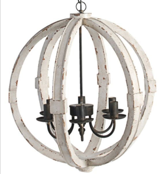 Distressed White Cottage Wood Orb Chandelier Pendant Shabby Chic