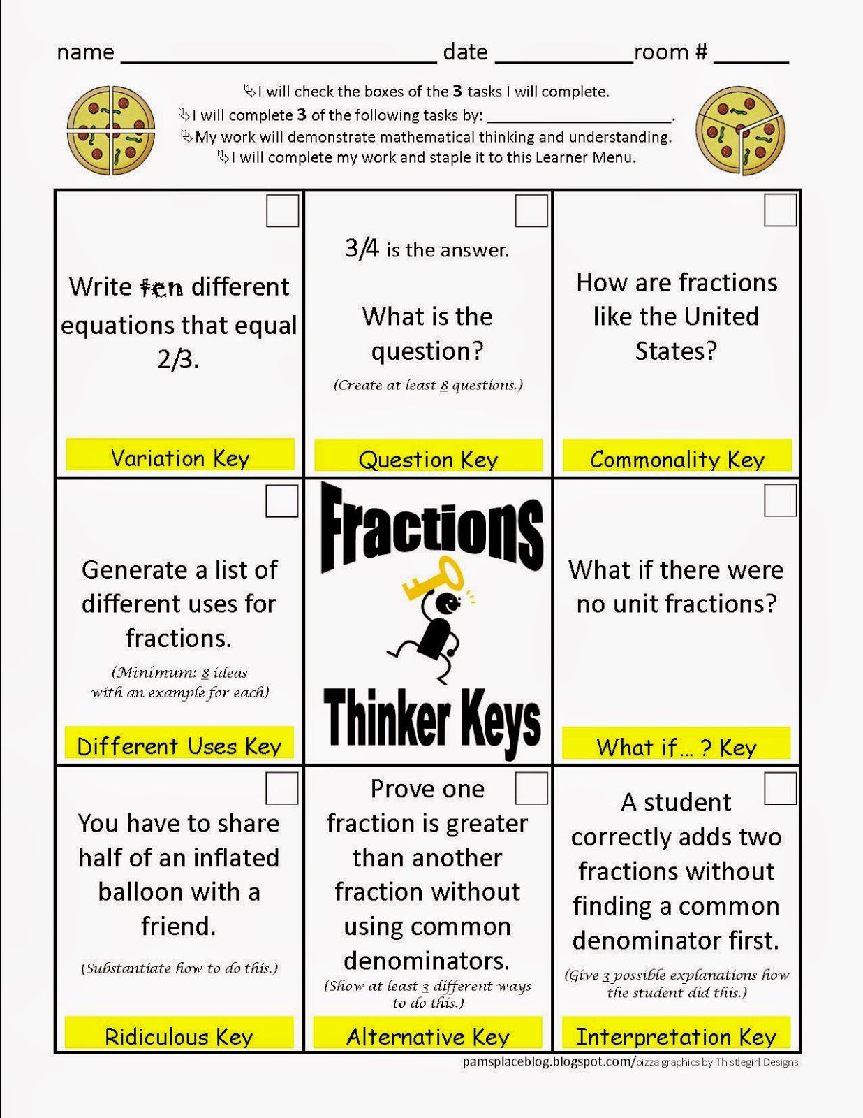 Fraction Menu Using Thinker Keys