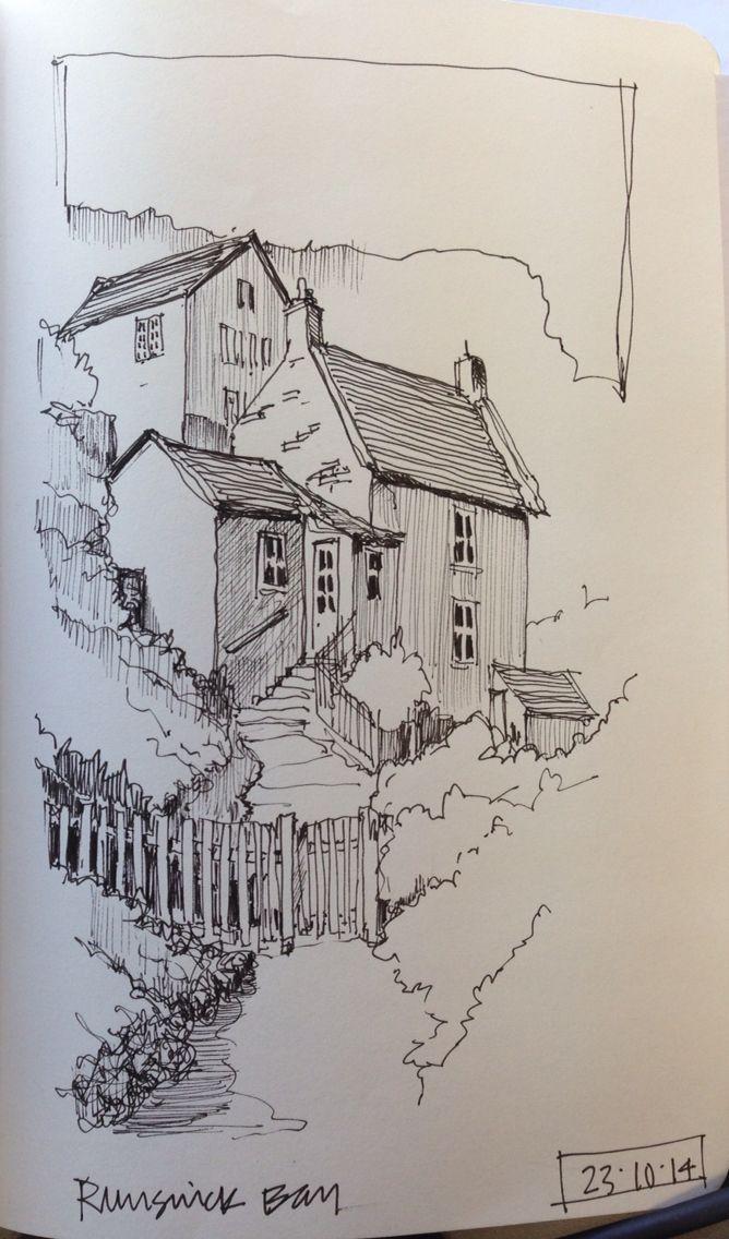 Line sketch of Runswick Bay North Yorkshire Building unto