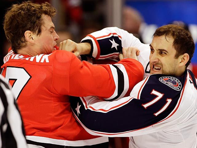 Sheldon Brookbank, Chicago Blackhawks, and Nick Foligno, Columbus Blue Jackets