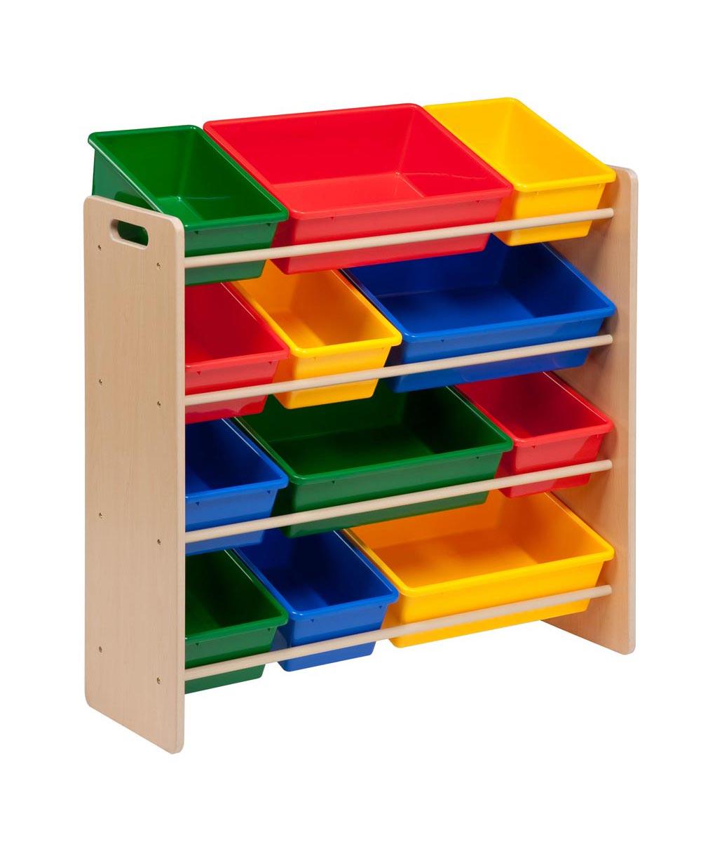 Kids Toy Organizer With Storage Bins Natural Primary Colors Toy Storage Organization Childrens Storage Boxes Toy Storage Bins