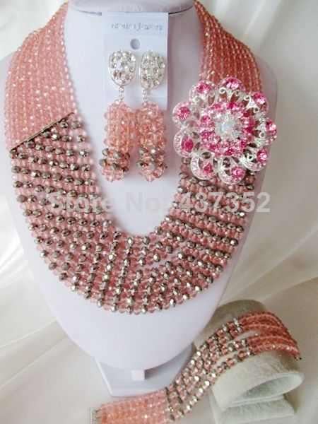 2014 Fashion Nigerian Wedding African Jewelry Set Costume Peach and Silver Crystal Beads Bridal Jewelry Sets CPS-3345 $58.26